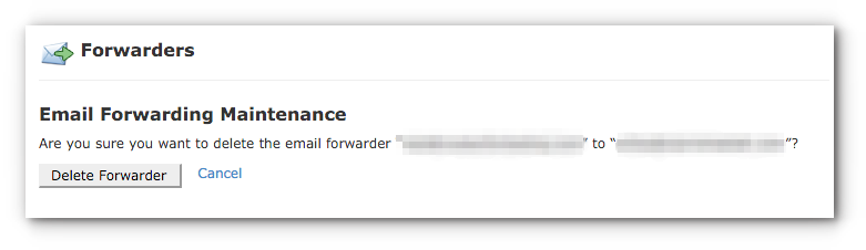 delete email forwarder