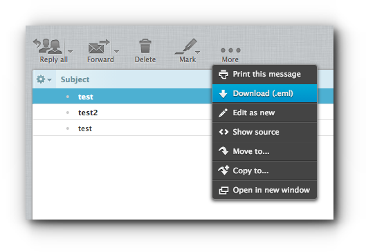 download an email using Roundcube