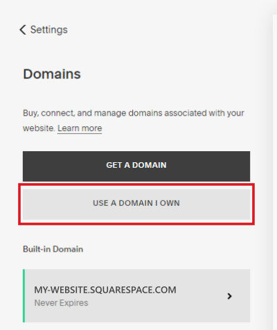 connect own domain Squarespace