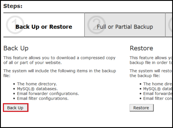 full backup vodien cpanel second step