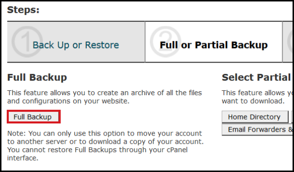 generate fullback up vodien cpanel