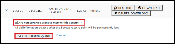 add to restore queue database backup via jetbackup