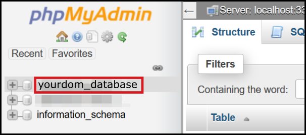 choose database to import via phpmyadmin