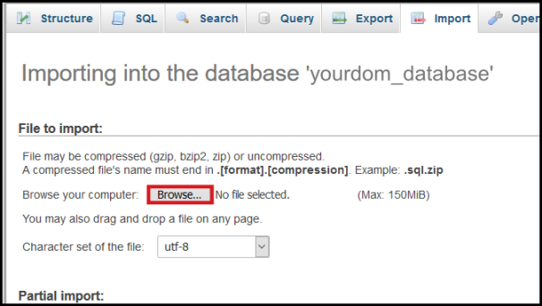 choose file import database via phpmyadmin