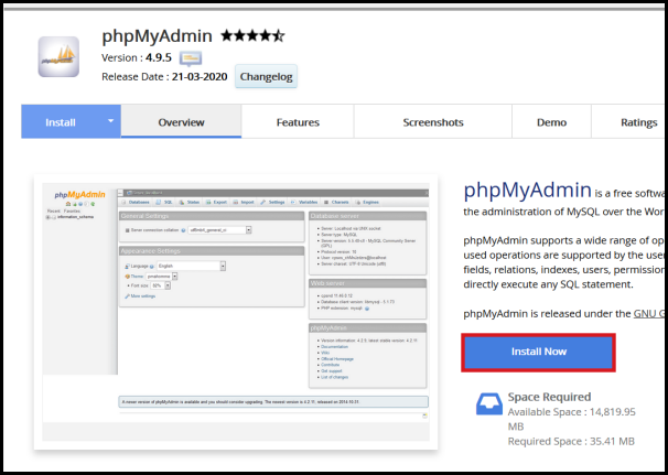 phpmyadmin install now softaculous