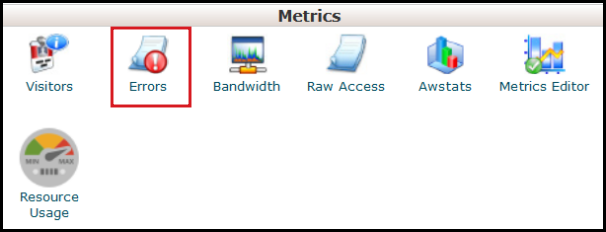 check error logs under metrics panel on vodien cpanel