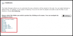 indexes page directories option cpanel