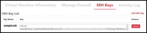 SSH Keys Tab on Linux VM