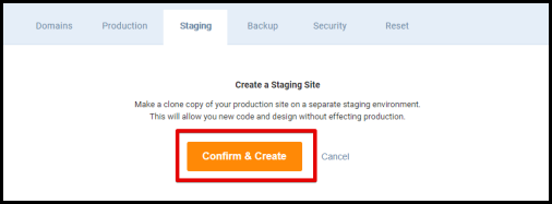 Confirm & Create Staging Creation