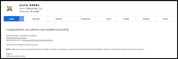 Softaculous Joomla Successfully Installed