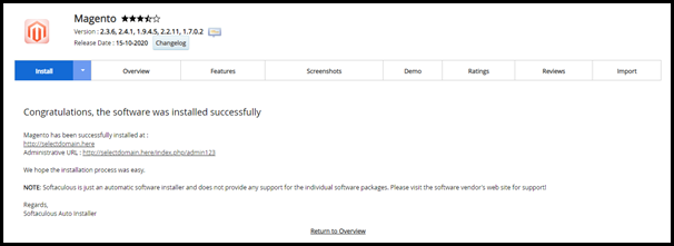 Magento Successfully Installed Message