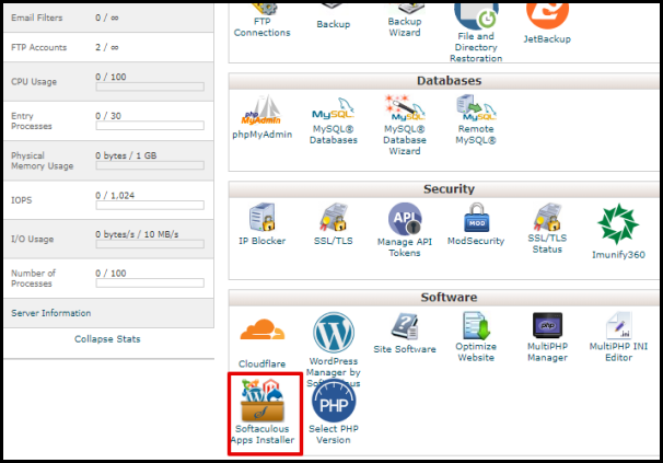cPanel Softaculous Installer Button