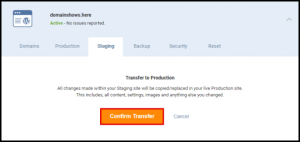 Confirm Transfer to Production Button
