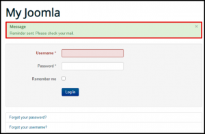 Joomla Email Sent Message