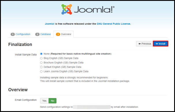 Joomla Web Wizard Install Button