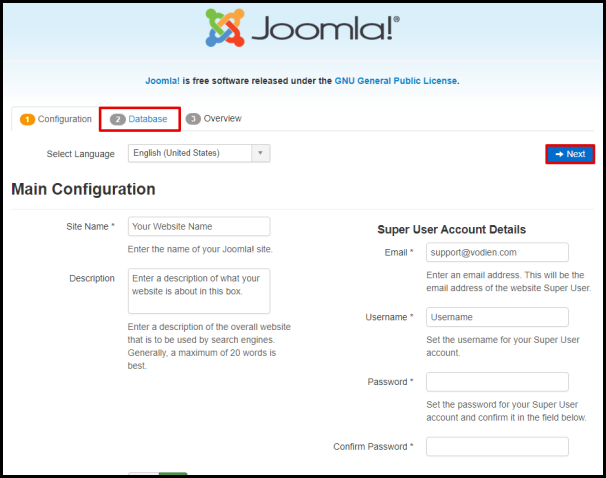 Joomla Click Database Tab