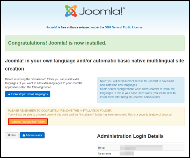 Joomla Remove Installation Folder Button