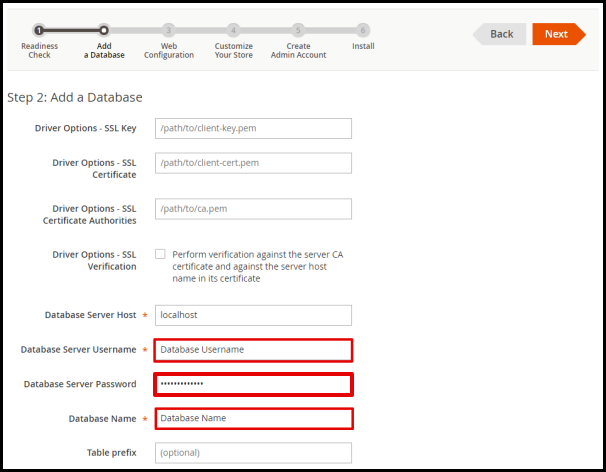 Add Database in Magento Web Installation Wizard