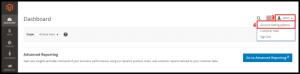 Magento Admin Page Account Setting Option