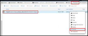 Extract File in File Manager