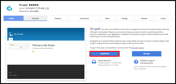 Drupal Install Now Button in Softaculous