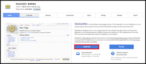 MediaWiki Install Now Button