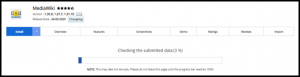 Media Wiki Installation Progress in Softaculous