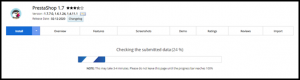 PrestaShop Installation Progress Page in Softaculous
