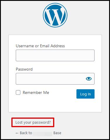 WordPress Lost Your Password Link
