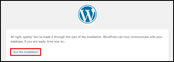 WordPress Run the Installation Button