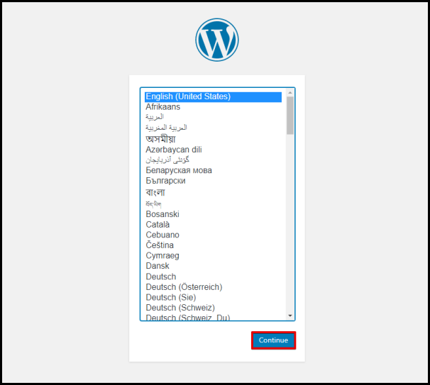 WordPress Installation Select Language Page