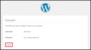 WordPress Successful Installation Page