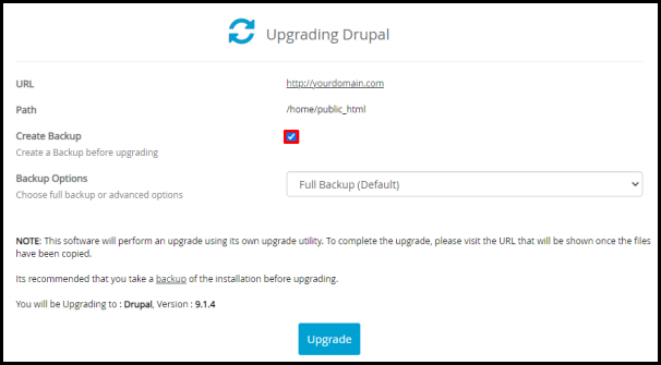 Create Backup Tickbox in Softaculous for Drupal Update