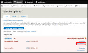 Drupal New Versio Release Notes Link