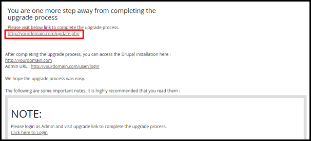 Drupal Update Link in Softaculous