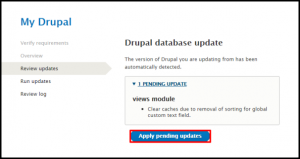 Apply Pending Updates Button in Drupal Update Page
