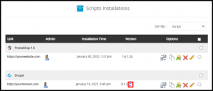 Drupal Update Icon in Softaculous