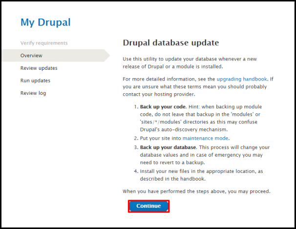 Drupal Update Page Continue Button