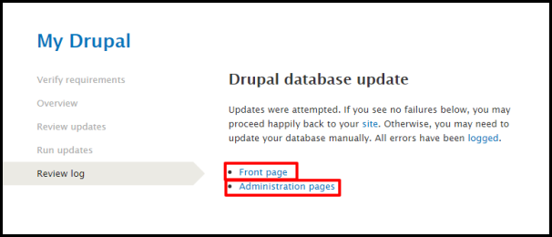 Review Log Tab in Drupal Update Page