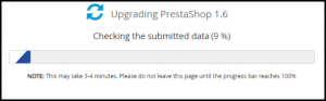 PrestaShop Upgrading Progress in Softaculous