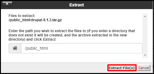 Extract File Button in File Manager