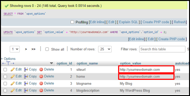 Edit Site and Home URL in PhpMyAdmin