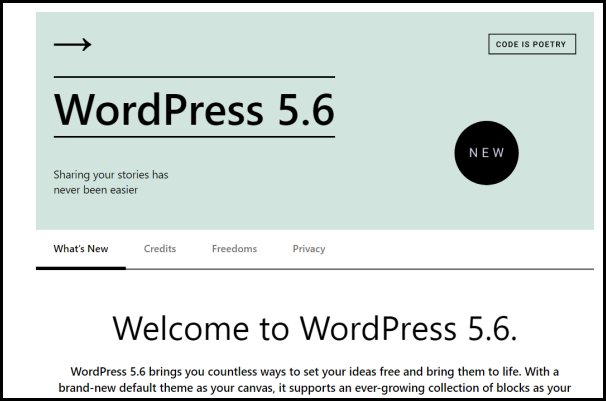 Welcome to WordPress 5.6
