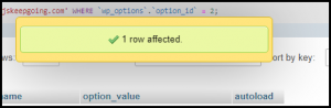 One Row Affected in PhpMyAdmin