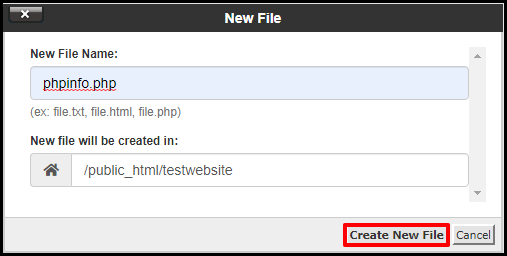 Create New File Button in cPanel File Manager