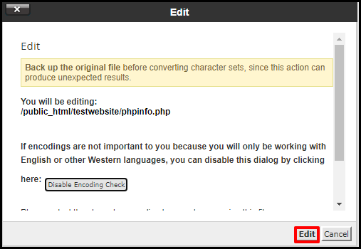 Edit File Pop up in cPanel File Manager