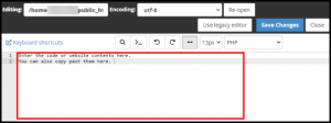 Text Field in cPanel File Manager