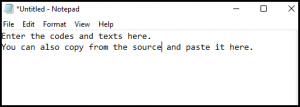 Enter Text in Text Editor