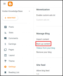 Backup Content Option in Blogger