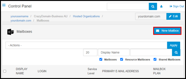 New Mailbox Button in Exchange Manager